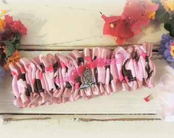 Garter for wedding garter pink camo garter accessories throw garter keepsake garter rustic wedding prom garter cowgirl prom country wedding