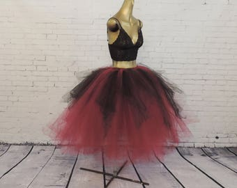 Red maroon burgundy black tea length tutu goth gothic adult womens tutu engagement photo tutu sewn tutu steampunk tutu skirt Halloween tutu