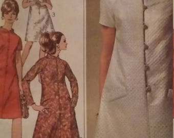 Vintage Simplicity Sewing Pattern Size 14 Designer Fashion One-Piece Dress