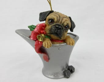 Vintage Pug Puppy in a Coal Bucket Christmas Tree Ornament / Cast Resin / Gift for Dog, Pug, Lover / Danbury Mint, Pugs and Kisses