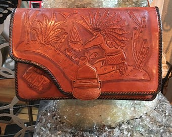 Vintage Leather Dark Brown Hand Tooled Handbag Made in Mexico