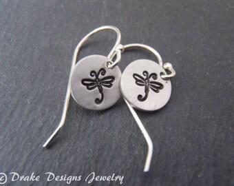 Sterling Silver dragonfly earrings silver