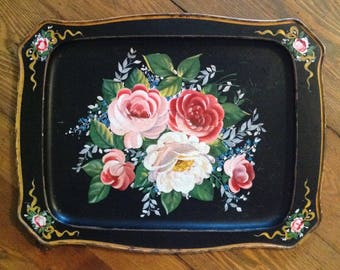 Toleware tin tray large tole ware pink floral roses on black background shabby romantic cottage chic Victorian farmhouse serving home decor