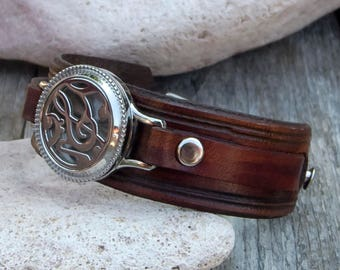 Men/Women Leather bracelet, Anti-Stress Aromatherapy Jewelry, Stainless Steel Perfume Locket diffuser Bracelet, Essential Oils Aromatherapy