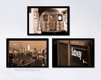 New York/Set Of 3 Prints/New York Photography/large Wall Art/