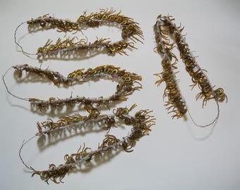 vintage jewelry -  4  strings  of earrings ,  brass  /  copper