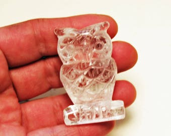 Clear Quartz Crystal Carved Owl 50mm 2 inches 7th Chakra Healing Intuition, Wisdom