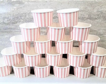 50 Pink striped 8oz paper cups/bowls - 200ml ice-cream cups - gelato/dessert cups - pink baby shower/birthday/wedding cups - snack cups