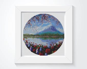 Blue Mountain Cross Stitch Pattern PDF, CIRCULAR Cross Stitch Chart, Art Cross Stitch, Embroidery Chart (C013)