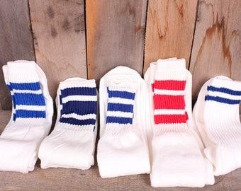 Vintage Lot 1980s Striped Mens Womens Unisex Gym Athletic Socks Red Blue