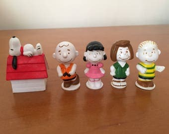 Rare Vintage Peanuts Gang Erasers Figures Snoopy Charlie Brown Lucy Peppermint Patty Linus