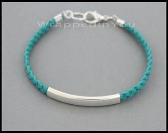 LEATHER Bracelet - Flat BRAIDED Genuine Natural Leather Large Silver TUBE Stackable Single Wrap Boho Chain Leather Cord Bangle Bracelet  Usa