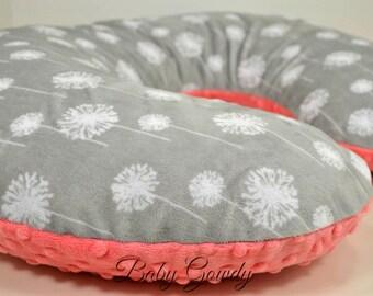 Minky Boppy Cover - Silver Dandelion Minky - Coral Minky Dot - Nursing Pillow Cover - Double Minky - Boppy Pillow Sham