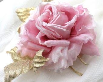Silk Flower Brooch, Pink Rose Flower, Gold Flower Brooch, Silk Rose Brooch, Silk Flowers, Artificial Roses