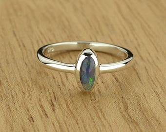 0.23ct Semi-Black Opal Ring in 925 Sterling Silver Size 4.5 SKU: 1979B002-925