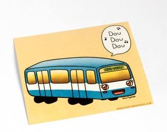 Sticker Montreal Metro subway car illustration kawaii