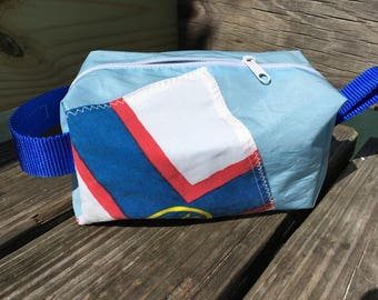 NOE Yacht Club Pennant Flag Toiletry Bag, Dopp Bag or Cosmetic Bag from Recycled Sail by SailAgainBags