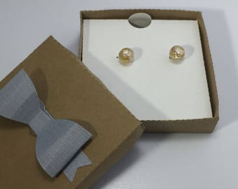 Venetian Gold Foil Silver Dichroic Sterling silver stud Earrings, READY TO SHIP