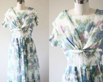 1950s sheer floral dress  // garden party dress // vintage dress