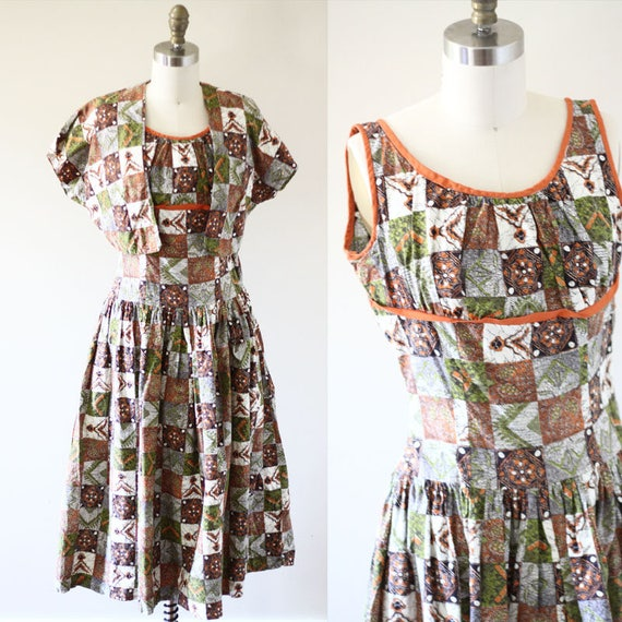 1950s patchwork dress // 1950s novelty dress // vintage dress