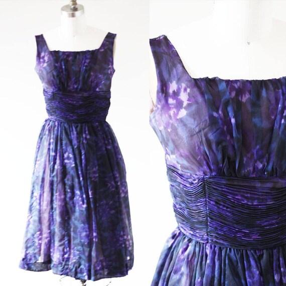 1960s Purple floral Dress // 1960s purple party dress // vintage silk dress