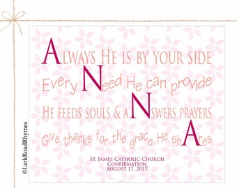 Goddaughter Gifts Baby Girl Baptism Gift Girls Baby Christening Gifts Baby Blessing Prayer Print Inspirational Nursery Name Poem 8x10 Anna