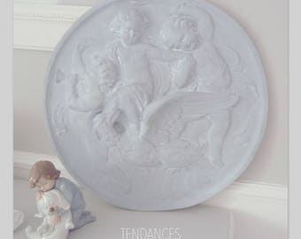 Large round medallion of 43 cm with children and the bird or the children and fish