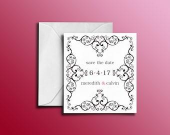 Custom Lace Flourish Save the Date Invitation