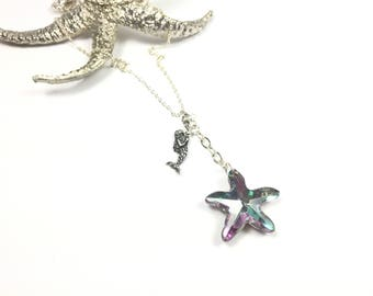 Mermaid Necklace, Mermaid Starfish, Crystal Starfish, Swarovski Starfish Crystal, Mermaid Crystal, Beach Necklace, Beach Jewelry, Starfish