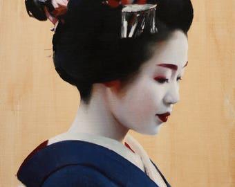 Tomitsuyu - original oil painting on 41cm x 31.5cm canvas board -
