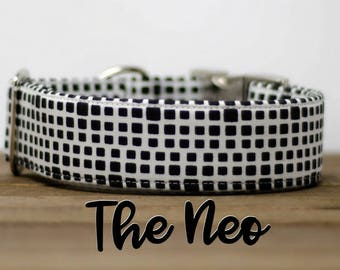 "Modern Black & White Geometric Dog Collar ""The Neo"""