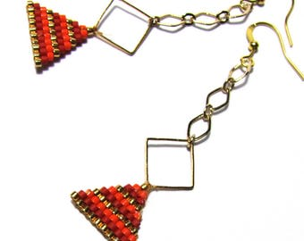 Earrings with diamonds and triangles woven in orange, red Miyuki beads, gold