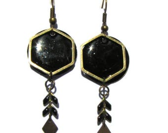 Hexagon bronze earrings, chain, spikes and black sequins