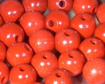 10 Red 12mm round wood beads