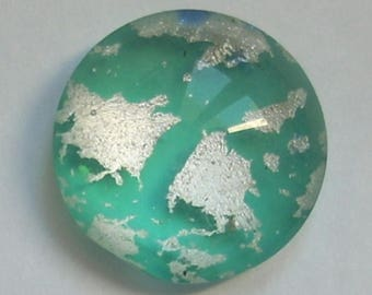 Round 16mm x 1 sea green Dichroic Glass cabochon