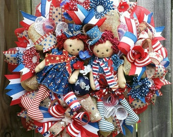 4th of July wreath, Americana wreath, Patriotic wreath, Summer wreath, Patriotic mesh wreath,  4th of July mesh wreaths, Americana decor