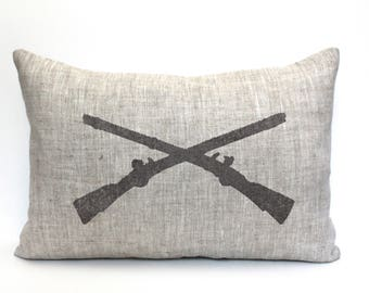 "army infantry officer insignia pillow, military gift, military retirement gift, crossed rifles gift, army gift - ""Crossed Rifles"""