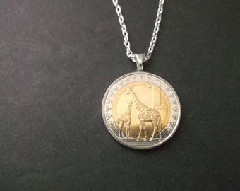South Sudan Gold and Silver Colored Giraffe Coin Necklace 1 Pound dated 2015 South Sudan Coin Pendant
