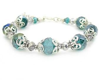 Teal Bridesmaid Bracelet, Teal Wedding Jewellery, Bridemaid Gifts, Teal Wedding Sets, Crystal Bracelet, Bridal Party Jewellery Sets