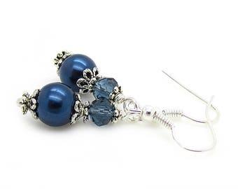 Navy Bridesmaid Earrings, Midnight Blue Bridal Jewellery, Pearl Wedding Earrings, Bridesmaid Gift Sets, Dark Blue Wedding Accessories