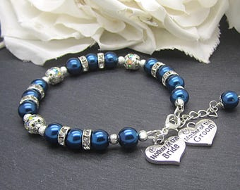 Mother Of The Bride, Navy Pearl Bracelet, Mother Of The Groom, Parents Wedding Gift, Navy Weddings, Bridal Party Jewellery, Pearl Jewellery