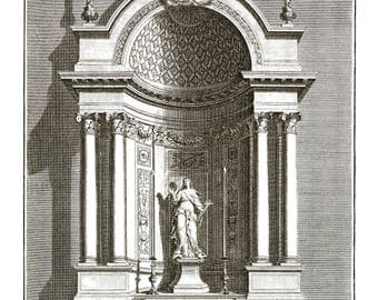 Vintage Drawing Print Chapel of St. Margaret