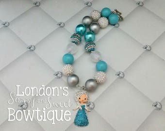 Elsa  Inspired Chunky Necklace /Frozen Necklace/  Toddler chunky necklace/ rhinestone pendant