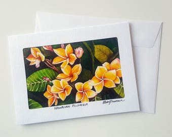 Hawaiian Plumeria Greeting Card, Floral Watercolour Blank Card, Handmade Card With Envelope, Tropical Birthday Card, Anniversary Card
