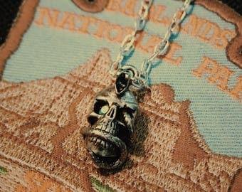 Silver Snake Skull Gemstone Necklace
