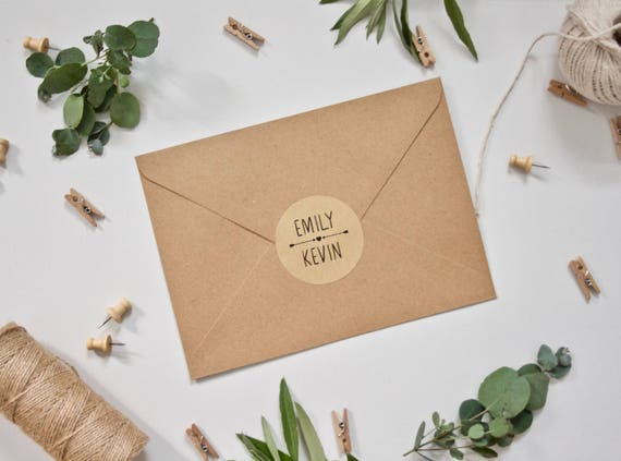 PERSONALISED Wedding Stickers - Custom Envelope Seals - Arrow with Names on Matte Recycled Kraft Background - 51mm Rustic Wedding Favours