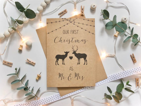 Our First Christmas as Mr & Mrs card - Mr and Mr, Mrs and Mrs - Stag, Doe, Fairy/Festoon Lights - Rustic Recycled Kraft Card - Xmas