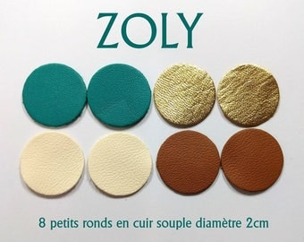 8 small circles of lambskin leather 4 colours 2cm diameter