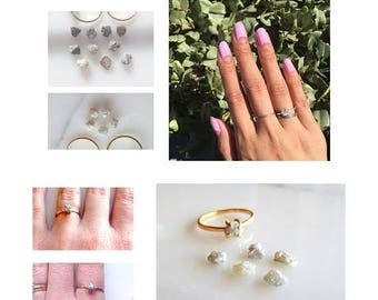 Raw Diamond Engagement Ring, Alternative Wedding Ring, Rough Uncut Stone Organic Shape, Rose Gold, Yellow Gold or White Gold Made To Order