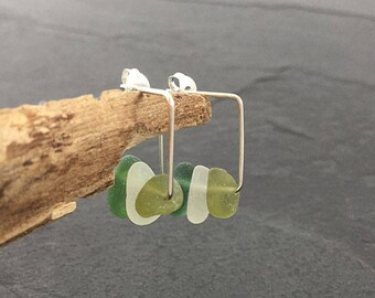 Green Sea Glass Square Earrings